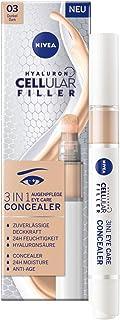 NIVEA 妮维雅 Hyaluron Cellular Filler 3合1眼部护理 遮瑕膏 深色(4 毫升) *遮瑕膏 含透明质酸 保护笔 适用于眼圈 红和粉刺