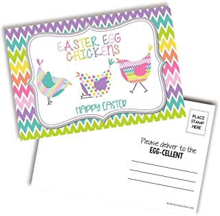 """AmandaCreation 趣味彩色复活节彩蛋鸡图案空白明信片送朋友和家人的4""""x6"""" 填写记事簿(20)"""