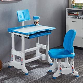 儿童桌子和椅子套装,高度可调节学校学生桌、儿童写字台带书架、抽屉存储、45°倾斜桌面、铅笔盒(蓝色)