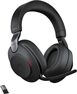 Jabra 捷波朗 Evolve2 85 无线耳机 – 降噪 UC 认证立体声耳机 带持久电池 – USB-A 蓝牙适配器 – 黑色