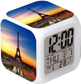 Laintone LED 闹钟埃菲尔铁塔黄昏设计创意桌面时钟发光电子彩色数字闹钟