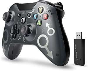 【2020*新版本】Xbox One无线控制器,W&O无线PC游戏手柄带2.4GHZ无线适配器,兼容Xbox One/One S/One X/P3主机/Windows 7/8/10(黑色)
