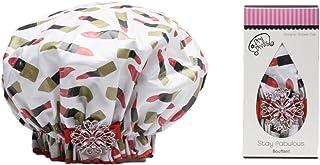 Dry Divas 设计师款浴帽 - 可水洗,可重复使用 - 大幅装饰复古宝石胸针(快干)