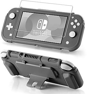 Nintendo Switch Lite 保护套套装,钢化玻璃屏幕保护膜,4 个游戏卡槽,支架符合人体工程学手柄,防震,防刮,超薄,适用于 Nintendo Switch Lite 保护套灰色