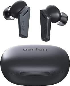 EarFun Air Pro 无线耳塞主动降噪,蓝牙 5.0 耳塞,带 6 个麦克风 ENC,立体声深低音,32 小时播放时间,带 USB-C 充电,入耳式检测耳机 IPX5 防水
