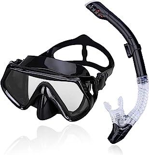 潜水套装 浮潜面罩 干顶防雾涂层玻璃潜水浮潜套装 防泄漏*浮潜套装 带耳塞 游泳运输设备 成人青少年 儿童