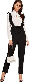 MAKEMECHIC 女式休闲高腰直筒裤褶皱吊带裤