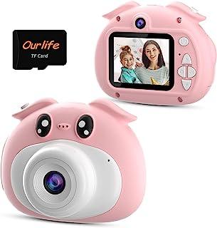 Ourlife 儿童相机生日,1080P 高清数码视频自拍相机幼儿玩具,双镜头多功能,带 8 GB 存储卡,便携式玩具,适合 3-12 岁女孩男孩粉色
