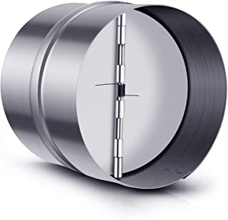 Backdraft 阻尼器镀锌钢内联风扇通风口带弹簧折叠刀片和 3 件管道夹,适用于抽油烟机和浴室风扇(6 英寸)