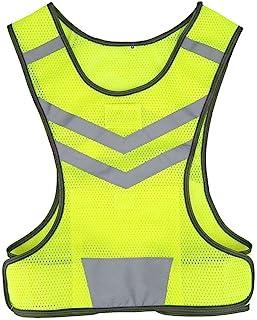 Qiilu 通用反光*背心高可见度可调节*背心适合户外运动、骑行、跑步、远足 M 码