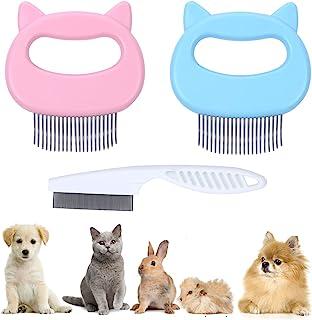3 件套猫按摩梳 猫壳梳 不锈钢宠物脱落脱落工具 适用于短发和长发,用于*和打结