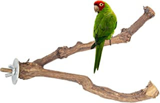 Kikerike 木鸟立架 栖息地 天然野葡萄棒 鸟立杆 磨爪 攀岩 站立配件 鸟枝 栖息地 适用于长尾小鹦鹉 爱鸟 脚蹼