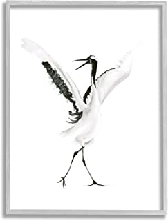 Stupell Industries 跳舞起重机开放翅膀黑鸟,由 Olg Shefranov 设计,灰色框架墙艺术