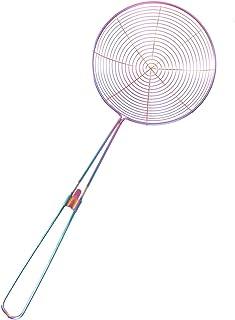 Hemoton 亚洲蜘蛛过滤器不锈钢钢丝分离器勺子带螺旋网眼专业分离器勺子食物Spaetzle芯片过滤器勺漏勺彩虹