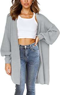 VTSGN 女式灯笼袖针织毛衣开襟外套带口袋