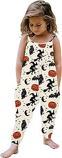 幼儿女孩无袖连衣裤口袋万圣节南瓜骷髅女巫图案吊带裤儿童哈伦裤