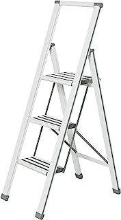 Wenko 铝设计折叠式坐垫 3 步白色家用梯子