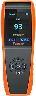 Temtop 空气质量检测器 专业甲醛监测温度和湿度检测器 带 PM2.5/PM10/HCHO/AQI/颗粒精确测试 LKC-1000S 黑色 LKC-1000S