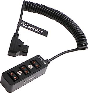电缆分路器 - Steadicam-BMPCC-Dtap 公头至 3 端口 D 点头母集线器适配器线圈电缆适用于 ARRI RED 相机 TILTA Steadicam IDX 电池