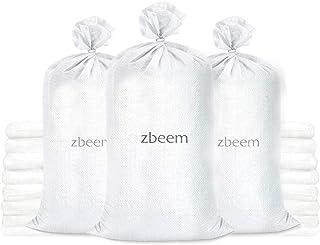 重型空白色编织聚丙烯沙袋,可控制血液,含领带,15 x 27 5 件装