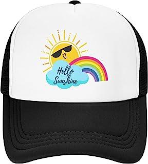儿童卡车司机帽,Hello Sunshine 可调节青年网眼卡车司机帽男孩女孩透气耐用幼儿棒球帽