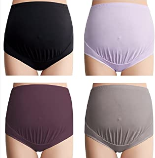 Mama 棉质孕妇内裤 4 件套 | 高腰孕妇内裤女士宽松套臀和哺乳内裤