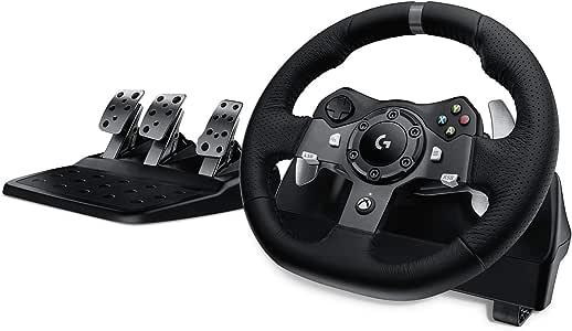 Logitech 罗技 G920驱动力赛车车轮和油门,实力反馈,不锈钢换挡拨片,皮革方向盘套,可调式油门,英国插头,Xbox One / PC / Mac-黑色