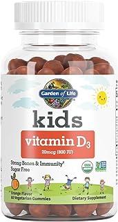 Garden of Life 生命花园 儿童*维生素D3软糖,橙味,800 Iu(100%Dv),有助于*和强骨,无糖,每日1粒,D3软糖,60粒素食软糖(60天供应)