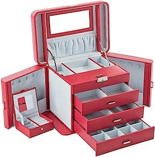 Mele & Co Queen 双层皮革首饰盒,红色,32 厘米 x 21 厘米 x 24 厘米