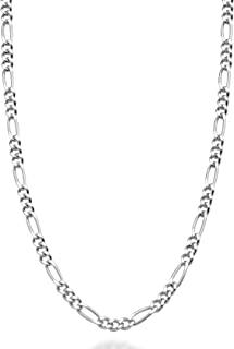 Miabella 纯色 925 纯银意大利 2.3 毫米钻石切割费加罗链项链女士男士,13+2,16,18,20,22,24,26,30 英寸意大利制造