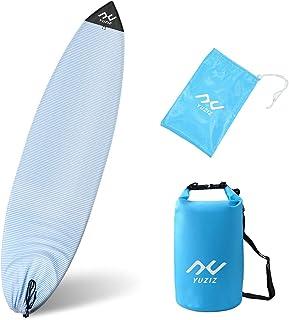 YUZIZ 冲浪板袜子套,带收藏袋和干燥袋,浅冲浪板保护短板、长板(圆鼻),浮动防水干燥袋 3L 单带冲浪、游泳