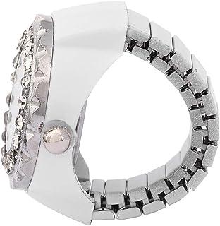 浪漫情人节手指石英戒指手表,水钻女士戒指手表,装饰休闲时尚闪亮,适合女性生日,美丽女孩情人节(白色)