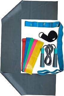 American Star 健身运动价值套装,含瑜伽带,阻力环带,多环锻炼带,弹力带,跳绳和旅行包。