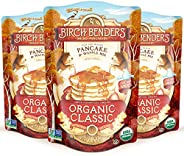 Organic Pancake and Waffle Mix, Classic Recipe by Birch Benders, Whole Grain, Non-GMO, 16oz, 3-pack