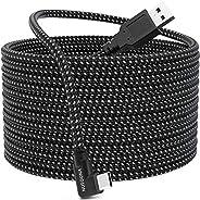 兼容 Oculus Quest 2 Link 电缆、快速充电和高速数据传输、耐用尼龙编织、USB A 到 USB C 3.2 Gen1 线适用于 VR 耳机和游戏电脑(10FT/3M)