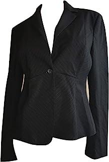 Elie Tahari 女式 Athena 细条纹羊毛混纺西装外套,黑色/白色,12