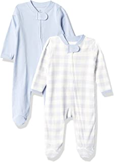 The Honest Company 婴儿 2 件装*棉连脚睡衣*和玩耍,蓝色绘制 Buffalo 方格,新生儿