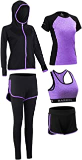 Warmht 女式瑜伽套装,女式健身套装,运动装,训练装,跑步套装健身系列 - 5 件套