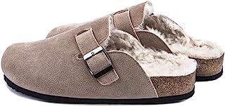 GATUXUS 女式毛皮绒毛拖鞋柔软毛绒羊毛衬里拖鞋室内户外保暖鞋