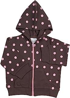 Elegant Baby 巧克力色带粉色圆点连帽夹克,小号适合 0-6 个月