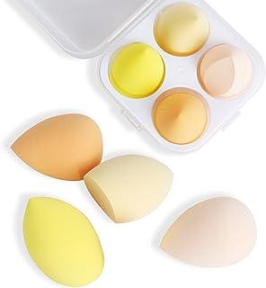4 个 Professional Beauty 多色化妆海绵混合机,带盒子,完美适用于奶油、粉末、液体等。 [1 个储物盒和 1 个支架]