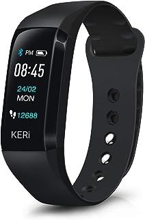 August Parar 活动追踪器,心率监测,**监测,卡路里计数器,支持 13 种语言,IP67 防水智能手表,适合女士,儿童,男士,KERi EMBi E1