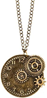 Boland 54569 - Steampunk项链,金色,成人,时尚首饰,带吊坠,首饰,钟表,齿轮,时间点,狂欢节,狂欢节,万圣节,主题派对