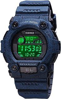 CakCity 男孩迷彩 LED 运动儿童手表防水数字电子军事腕表儿童夜光闹钟秒表儿童手表适合 3-15 岁儿童