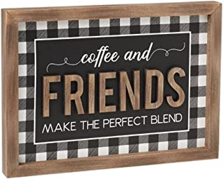 Collins Painting Cafe Sign for Coffee Bar | Buffalo Check Farmhouse Kitchen Decor | Coffee and Friends Make The Perfect Bl...