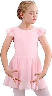 STELLE 女孩芭蕾短袖连衣裙紧身连衣裤,适合舞蹈、体操和芭蕾(幼童/小女孩/大女孩)