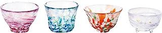 ADERIA 津轻玻璃 酒杯 礼品套装 四季图案酒杯 特用木盒装 日本制造 FS-71545