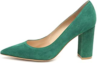 Divanne 高跟鞋,女式麂皮浅口尖头粗跟一脚蹬正装办公室鞋