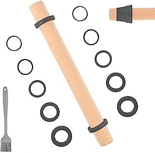 Sapid 16 英寸(约 40.6 厘米)木制擀面杖,可调节厚环,不粘面团滚筒,易于清洁榉木披萨擀面杖,适用于馅饼、饼干、面包、意大利面(糕点刷、灰色)