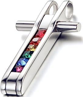 Flongo 男式女式不锈钢同性恋女同性恋彩虹 LGBT 骄傲吊坠项链,55.88 厘米项链